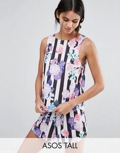 Полосатая пижама из майки и шортов с цветочным принтом ASOS TALL - Мульти