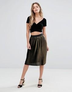 Плиссированная юбка миди с эффектом металлик Vero Moda - Мульти