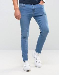 Зауженные джинсы с необработанными краями Only & Sons - Синий