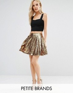 Короткая расклешенная юбка с пайетками Boohoo Petite - Золотой