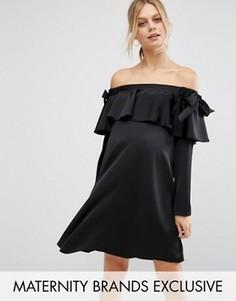 Атласное платье с вырезом лодочкой и бантиком Queen Bee - Черный