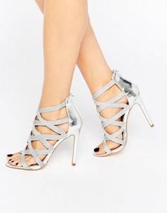 Туфли на каблуке с отделкой металлик New Look - Серебряный