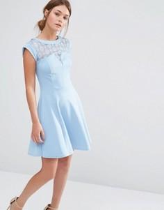 Короткое приталенное платье с кружевной кокеткой New Look - Синий