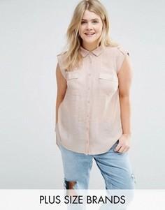 Рубашка с короткими рукавами New Look Plus - Бежевый