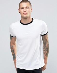 Белая футболка с контрастными горловиной и манжетами New Look - Белый