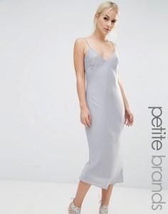 Атласное платье‑сорочка миди New Look Petite - Серебряный