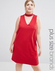 Цельнокройное платье с горловиной‑чокер New Look Plus - Красный