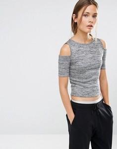 Меланжевый топ с открытыми плечами New Look - Серый