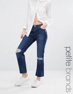 Джинсы с рваными коленями и необработанным краем New Look Petite - Синий