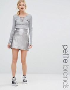 Юбка-трапеция с оттенком металлик New Look Petite - Серебряный