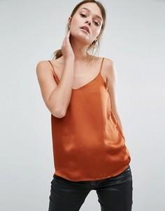 Атласный топ с V‑образным вырезом New Look - Оранжевый
