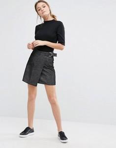 Вельветовая юбка-трапеция с запахом New Look - Черный