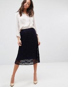 Кружевная юбка миди с плиссировкой New Look - Темно-синий