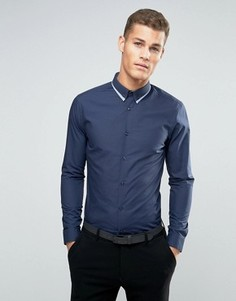Темно-синяя строгая рубашка с двойным воротником New Look - Темно-синий