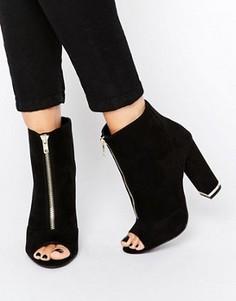 Ботильоны на каблуке и молнии New Look - Черный