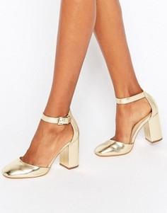 Туфли с эффектом металлик на блочном каблуке New Look - Золотой