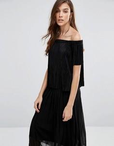 Топ с открытыми плечами New Look Plisse - Черный