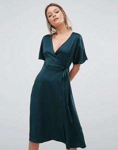 Платье миди с запахом спереди New Look - Зеленый