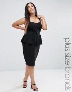 Платье-футляр длины миди с баской New Look Plus - Черный
