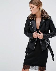 Байкерская куртка из искусственной кожи с леопардовым воротником New Look - Черный