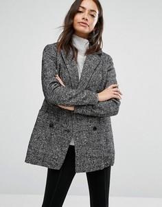 Полушерстяной пиджак в крапинку New Look - Черный