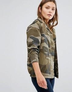 Камуфляжная куртка на подкладке Borg New Look - Зеленый
