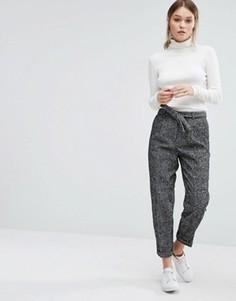 Шерстяные брюки в крапинку New Look - Черный