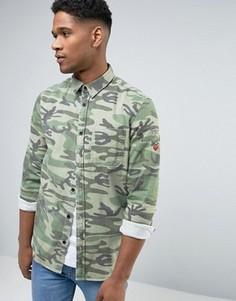 Камуфляжная рубашка навыпуск с нашивками New Look - Зеленый