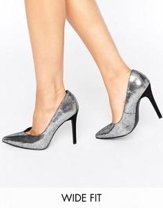 Туфли на каблуке для широкой стопы New Look - Серебряный