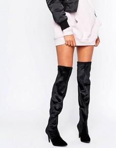 Бархатные ботфорты на каблуке New Look - Черный