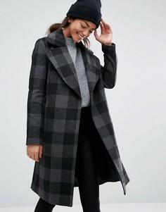 Строгое пальто в клетку New Look - Черный