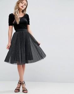Плиссированная юбка миди с эффектом металлик New Look - Черный