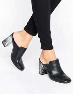 Сабо на каблуке с мраморным эффектом New Look - Черный