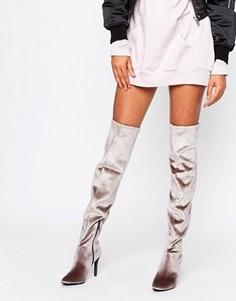 Бархатные сапоги-ботфорты на каблуке New Look - Коричневый