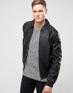 Черная куртка Харрингтон из искусственной кожи New Look - Черный