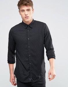Черная рубашка классического кроя в горошек New Look - Черный