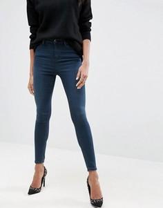 Темно-синие джинсы скинни с завышенной талией ASOS Ridley - Синий