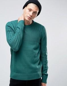 Джемпер в рубчик с круглым вырезом D-Struct - Зеленый