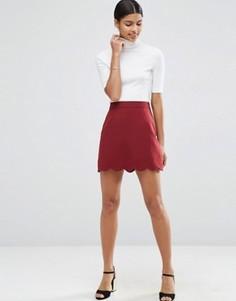Мини юбка‑трапеция с фигурным краем ASOS - Красный