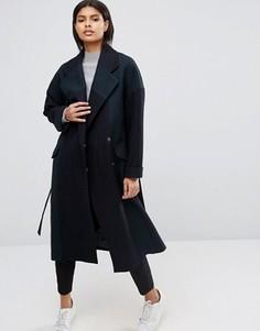 Oversize-пальто в стиле колор блок с добавлением шерсти ASOS - Мульти