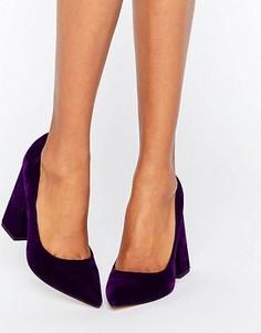 Бархатные туфли на высоком каблуке с заостренным носком ASOS PIER - Фиолетовый