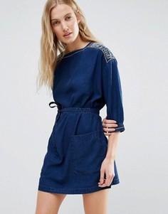 Джинсовое платье мини с вышивкой M.i.h Jeans - Синий