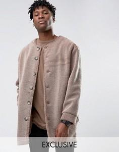 Пальто-кокон из материала борг без воротника Reclaimed Vintage - Серый