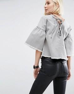Серый джинсовый топ с расклешенными рукавами и завязкой ASOS - Серый