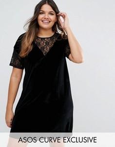 Бархатное цельнокройное платье с кружевной отделкой ASOS CURVE - Черный