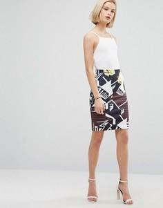 Мини-юбка с цветочным принтом Clover Canyon - Мульти