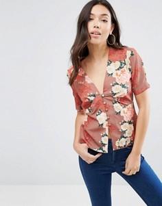 Блузка с японским цветочным принтом ASOS - Мульти