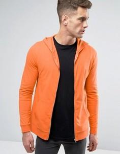 Оранжевый худи на молнии облегающего кроя ASOS - Оранжевый