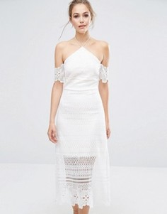 Платье миди из премиум-кружева со спущенными рукавами Dark Pink - Белый
