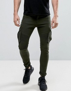 Байкерские джинсы карго Liquor & Poker - Зеленый